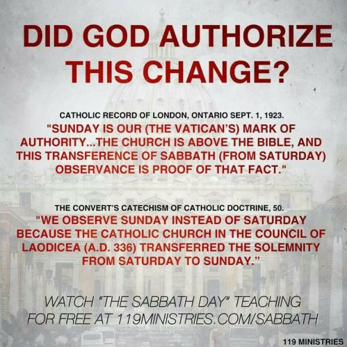 Change of True Sabbath to false sabbath image 1