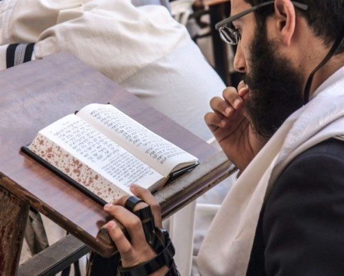 1080-Jewish-man-prays-at-Kotel-with-Siddur-and-tefillin-600x482