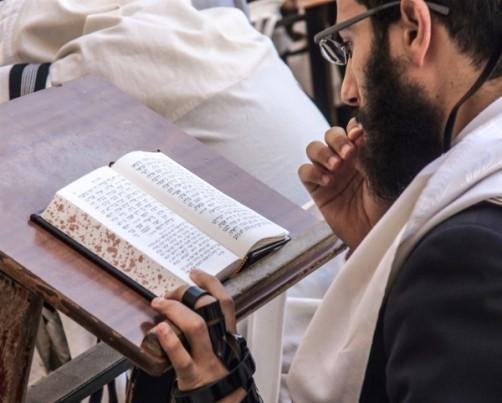 1080-Jewish-man-prays-at-Kotel-with-Siddur-and-tefillin-600x482